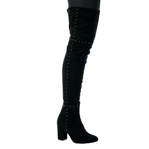 Angkorly - Chaussure Mode Cuissarde Cavalier Sexy Souple Femme clouté Talon Haut Bloc 8 CM - Intérieur Fourrée - Noir - 539-1 T 38