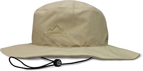 normani Wasserdichter Sonnenhut 2-in-1 Hut - 100% Wind- und wasserdicht, UV-Schutzfaktor 30+ [S-3XL] Farbe Beige Größe M/57