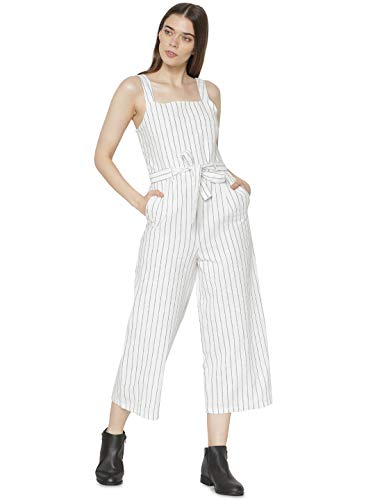 ONLY Damen onlCANYON Strap Crop PNT Jumpsuit, Mehrfarbig (Cloud Dancer Stripes: Night Sky), Herstellergröße: 38
