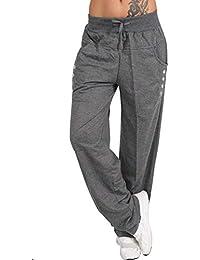 ffe8f2e56bf5 Landove Pantalone Tempo Libero Donna Moda Simpatici Pantaloni Dritti Larghi  con Tasche Laterali Leggins da Danza