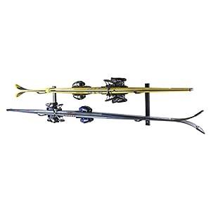 4U® Skihalter Set Skiträger Skistöcke Ski Aufbewahrung Wandhalter Halter für 2 Paar Gerätehalter Wandmontage