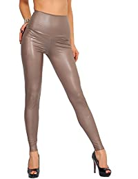 FUTURO FASHION - Legging Long Taille Haute - Sexy - Latex Imitation Cuir -  Mat 5b4e6cfb3895