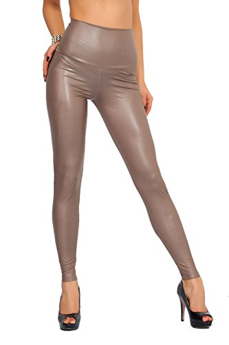 FUTURO FASHION - Lange Leggings mit hohem Bund - sexy Lederimitat - matt - Cappuccino - 36
