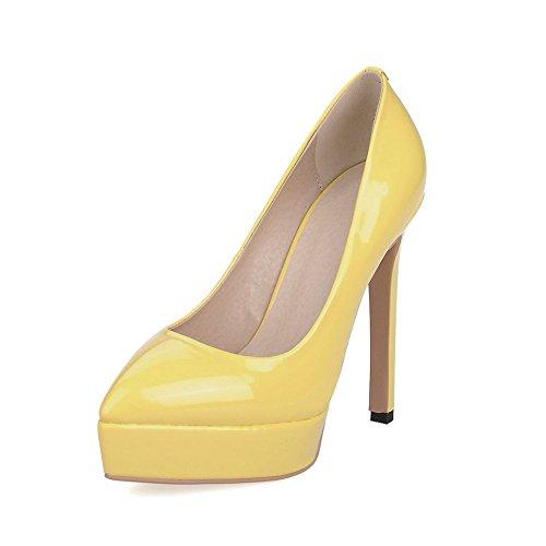 AllhqFashion Damen Hoher Absatz Rein Ziehen Auf Lackleder Spitz Zehe Pumps Schuhe Gelb