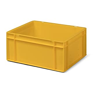 Euro-Transport-Stapelbehälter/Lagerbehälter, gelb, 400x300x175 mm (LxBxH), Wände u. Boden geschlossen