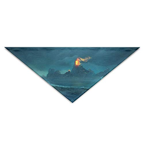 Pet Triangle Bandana Sea Waves Island Fire Art Washable Dog Puppy Scarf Bib Babys Neckerchief Accessories