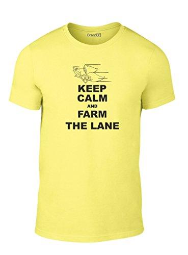 Keep Calm and Farm the Lane, Erwachsene Mode T-Shirt, Gelb/Schwarz, S -89-94cm (Gelb T-shirt Farm)