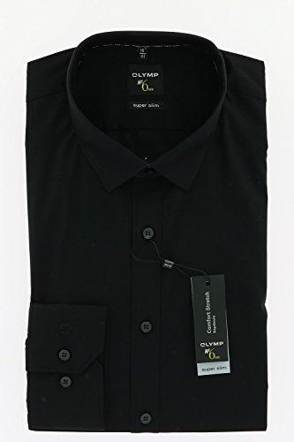 Herren Hemd No. 6 Super Slim Fit Langarm, Farbe schwarz, Size M (40)