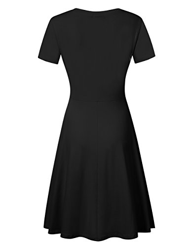 Women's Casual Dress A Line Short Sleeve V Neck Summer Dress Black L