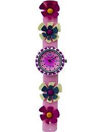 Trendy Kiddy - KL99 - Montre Fille - Quartz Analogique - Cadran Rose - Bracelet Cuir Rose