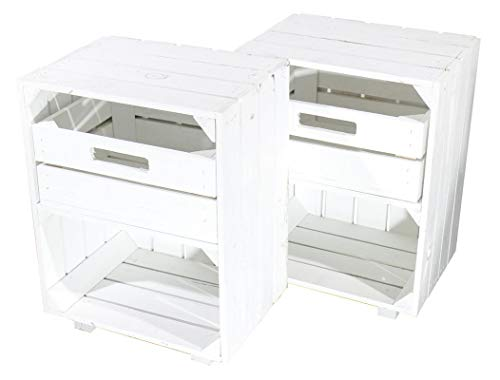2X Vintage-Möbel 24 Weißer Nachttisch mit Schublade 30,5cm x 40cm x 54cm Nachtschrank Tisch Regalkiste Weinkiste Obstkisten Apfelkisten Weiss Shabby chic Tisch Ablage Landhaus DIY klassisch