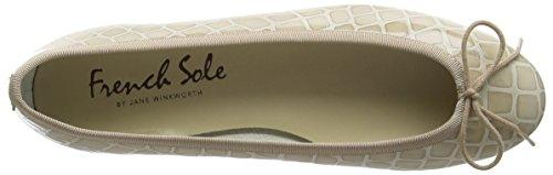 French Sole Henrietta Patent Croc, Closed Toe Ballet Flat femme Beige (Taupe)