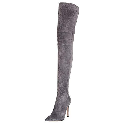 Lutalica Damen Sexy Stretchy Spitze Wildleder Overknee Stiletto Oberschenkel Hohe Stiefel Grau Größe 38
