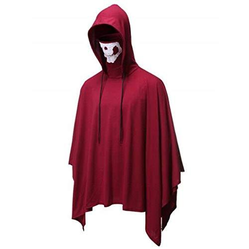 Top 10 Ideen Für Halloween Kostüm - INLLADDY Umhang Herren Hoodie mit Skelettmaske