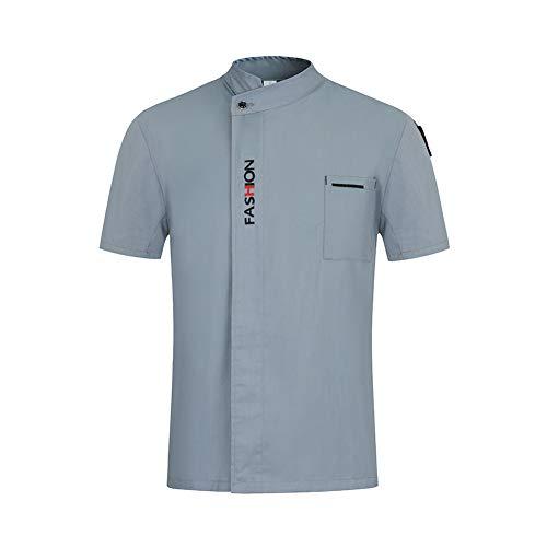 Mode Kochjacke Küche Restaurant Uniformen Shirts Kurzarm Arbeitskleidung Männer Frauen Hotel Bäckerei Kochen Sushi Kostüm,Gray,XXXXL -