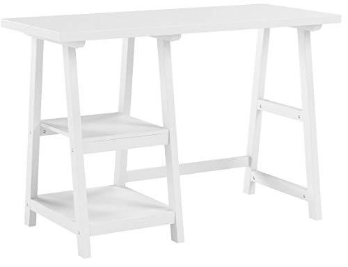 SoBuy Mesa de Escritorio, Mesa de Ordenador con 2 estantes, Color Blanco, FWT16-W, ES (Mesa)