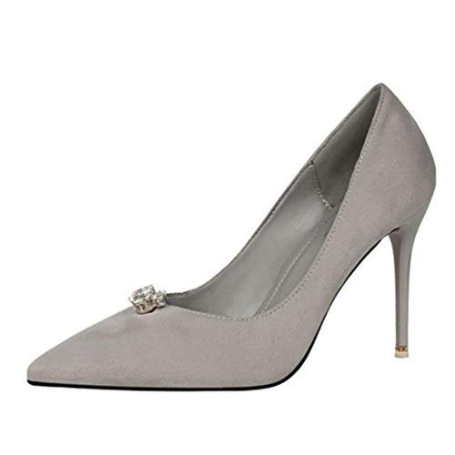 High Heels für Frauen Kristall flach prägnant solide Herde Schuhe Sexy wies Toe Pumpen Slip On Stilettos -