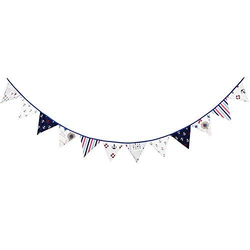 12Flaggen Pirat Muster Baumwolle Stoff Wimpelkette Wimpel Banner Girlande Hochzeit/Geburtstag/Baby-Dusche Party ()