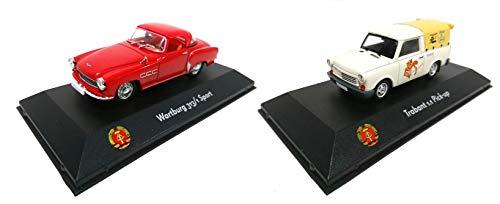 Los von 2 Miniaturautos Sammlung DDR 1/43: Wartburg 313/1 Sport + Trabant 1.1 Abholung