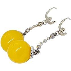 Onlyfo - Pendientes de bola de dragón con cuentas amarillas y caja de joyería, pendientes de bola de dragón para niñas (amarillo)