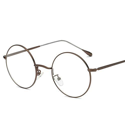 Yangjing-hl Retro literarische runde Flache Spiegel Mode Feinmetall Metall Brillengestell Brillengestell Bronze