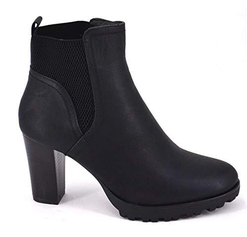 King Of Shoes Damen Stiefeletten Ankle Boots Plateau Stiefel Schuhe 74 (40, Schwarz) -