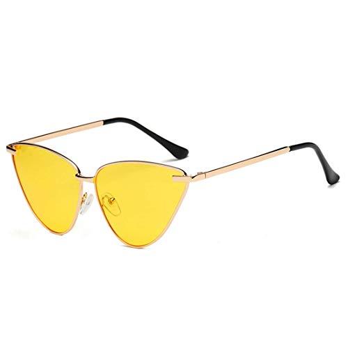 guantongda Wohltuende Sexy Damen Katzenaugen Sonnenbrille Damen Herren Mode Vintage Wrap Metallrahmen Klar Gläser Sonnenbrille für Buchse UV400 für Zelten, Picknick und Andere Außen Aktivitäten
