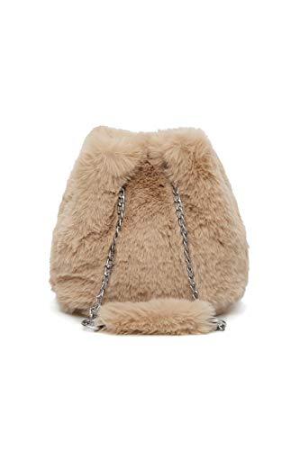 Howoo donne inverno piccolo pelliccia ecologica borsa a tracolla peluche borsa della benna soffice borsetta cachi