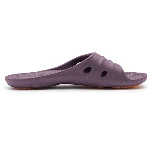 KENROLL Dusch Badeschuhe Sommerurlaub Damen Hausschuhe Zehentrenner Strandschuhe Flip Flops Tief purpurrote