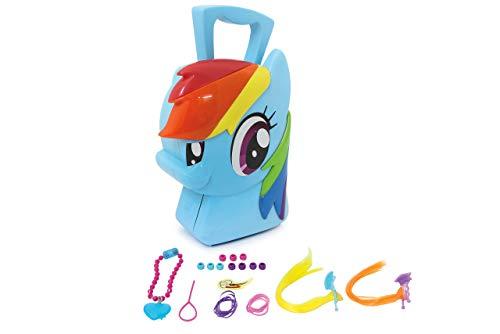 Jamara 410098 Koffer Rainbow Dash-8-Teiliges Spieleset, Coole Trendfrisuren ausprobieren, Stabiler und handlicher Tragekoffer, kindgerechte My Little Pony Design, blau (Pony-koffer Little My)