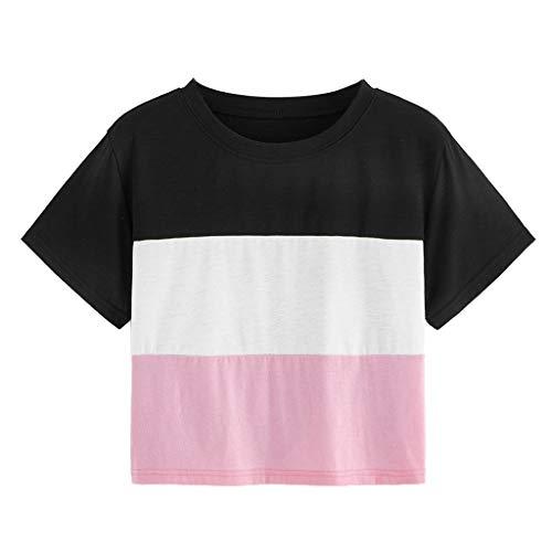 CixNy Damen T Shirts, Kurzarm Bluse Camisole Trägershirts Sommer Beiläufig O-Neck Tricolor Kontrastfarbe Crop Vest Weste Oberteil Tops (Rosa, XX-Large)