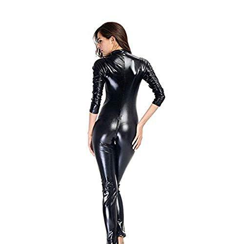 CNBX Sexy Hot Unterwäsche Latex Leder Catsuit Cosplay Ausgefallene Kleid-Kostüm Plus Größe Lingere Nass Aussehen Cosplay,S