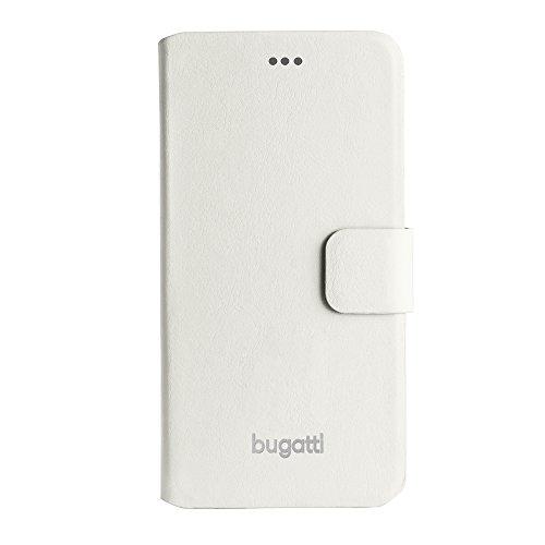 Bugatti FlipCase Rome - exklusive Echtleder-Tasche für Apple iPhone 6 / 6S  [Handarbeit | Magnetverschluss | Logoprägung] weiß - Geneva