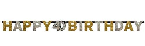 40.ster Geburtstag. Komplettes Party Set zum 40 Geburtstag Gold Schwarz Silber plus Glitter, 41 Teile komplette Dekoration zum 40 Happy Birthday - 4