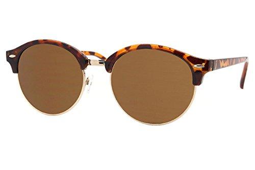 Cheapass Sonnenbrillen Clubmaster Braun Runde Gläser UV-400 Browline Vintage Leo-Print Retro Plastik Frauen (Jahre 80er Im Jungs Der Stil)
