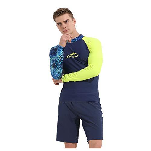 Neoprenanzug Herren Surfjacke T-Shirt Uv-Schutz Schnell Trocknende, DüNne LangäRmelige Tauchanzug-Basiskleidung(Blau, XXL)