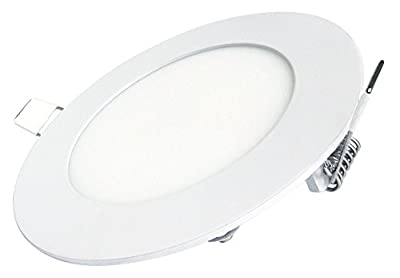 6W LED Round Recessed Ceiling Flat Panel Down Light Ultra slim Lamp Cool White 7000k Super Bright from Long Life Lamp Company