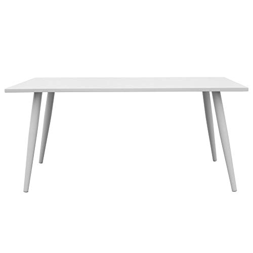 Delamaison Table rectangulaire en Aluminium Blanc 160x90cm Mansion