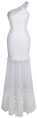 Angel-fashions Damen Eine Schulter Floral-Spitze-Nixe Netz bodenlangen Hochzeitskleid (S, Weiß)