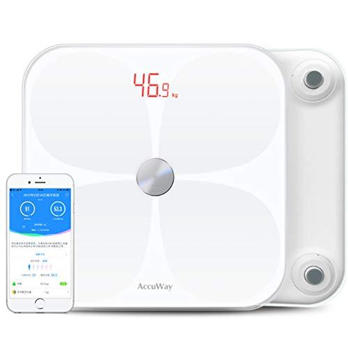 QMKJ Smart Bluetooth Body Fat Scale Fat Meter USB 69 Gesundheitsmessungen Digitales Badezimmer mit Larger LED-Display und Tempered Glass Surface 180KG White - Ozeri Fernbedienung