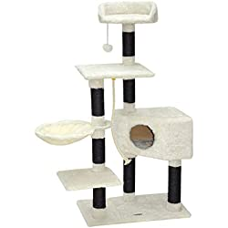nanook Arbre à chat Kevin taille L 139 cm - très solide avec poteaux sisal noir - Couleur: blanc noir