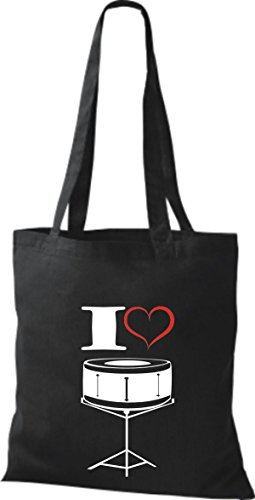 Shirtstown Pochette en tissu Musique I Love snaire Noir - Noir