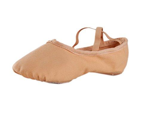 ELE GENS Damen Herren Ballettschläppchen Ballettschuhe Tanzschuhe Ballett Trainings Schläppchen Schuhe Ballerina (41, Braun)