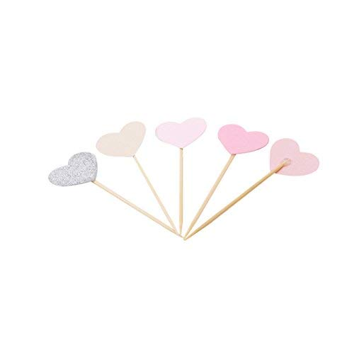 Arteki Toppers 5 Pcs Mixed Colors Heart Cupcake Toppers Picks Wedding Birthday Bridal Shower Cake Decorations