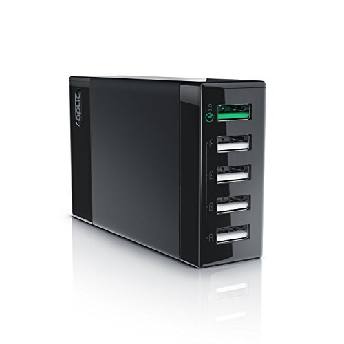 CSL - USB Ladegerät 50W | 5-Port Netzteil inkl. Quick-Charging/Schnellladefunktion | Smart Charge Intelligente Lade-Identifikationstechnik | geeignet für Handys, Smartphones, Navis, Tablets UVM.
