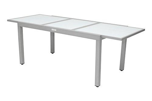Villana exklusiver Ausziehtisch, Gartentisch aus hochwertigem Aluminium in Silber, 160/220 x 90 x 75 cm, Glastischplatte, Outdoortisch, Esstisch, robust, pflegeleicht, klassisches Design