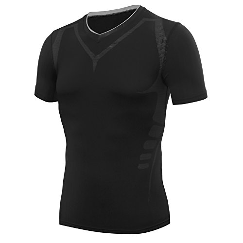 Amzsport maglia a manica corta compression da uomo sport baselayer asciugatura rapida t-shirt nero l