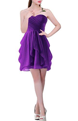 PLAER femmes Bra robe de demoiselle d'honneur court paragraphe robe de toast de mariage Sexy robes de cocktail danse Deep Purple