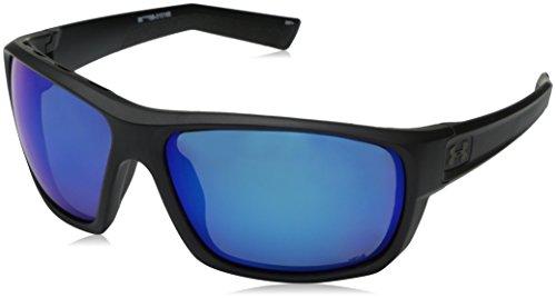 Under Armour Men's Ua Launch Polarized Round Sunglasses, (Ansi) Satin Black Frame / Gray Polarized Lens / Blue Multiflection W/ UA Storm, 64 mm