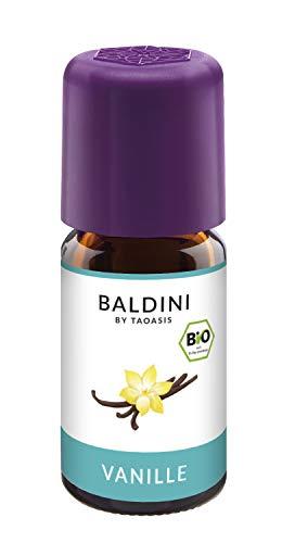 Baldini - Vanilleextrakt BIO, 100{548689e243750c6a616bdff4cc02a771ee3dbb66b2bd73f0dbe0138ff490f4e7} naturreines Aroma aus reinem ätherischen Vanille Öl in Bio-Alkohol, 5 ml